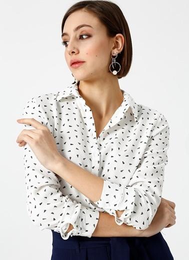 Limon Company Desenli Gömlek Beyaz